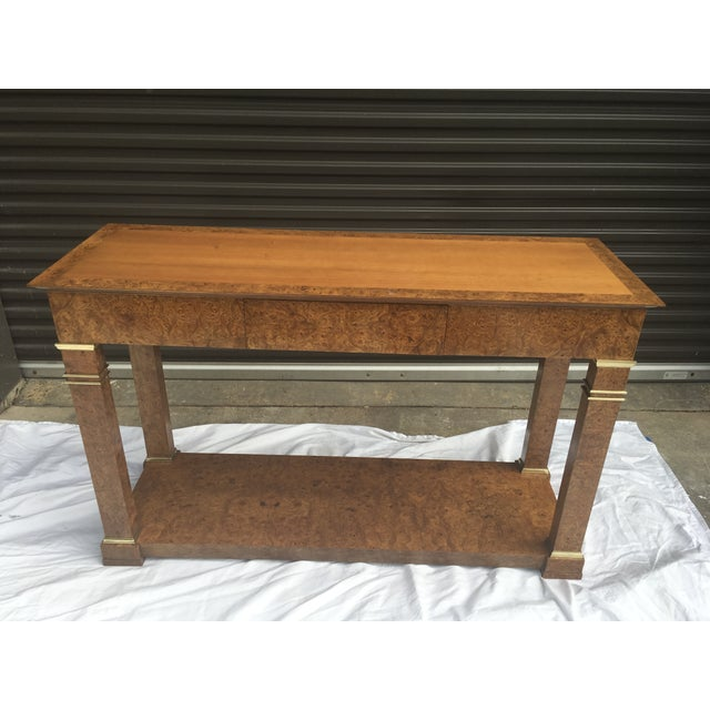 Baker Furniture Regency Console in Burl& Brass For Sale - Image 12 of 12
