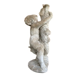 Antique Cement Boy Standing and Fish Outdoor Statue For Sale