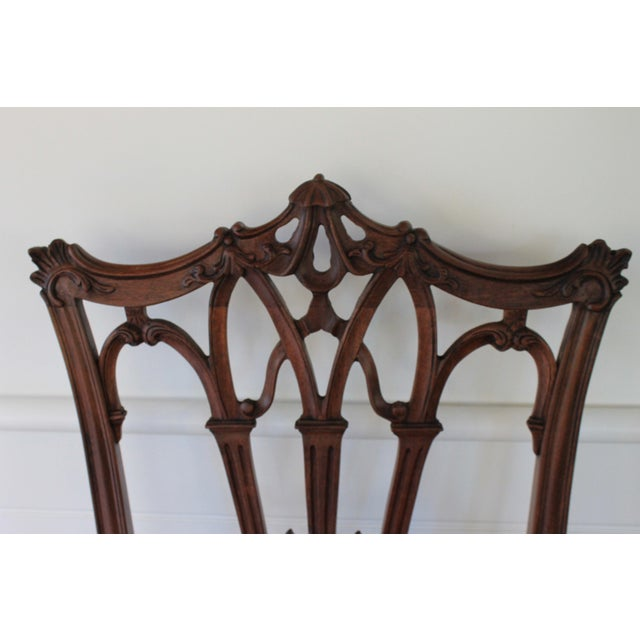 1940s Carved Mahogany Chinese Chippendale Chairs - a Pair For Sale - Image 5 of 10