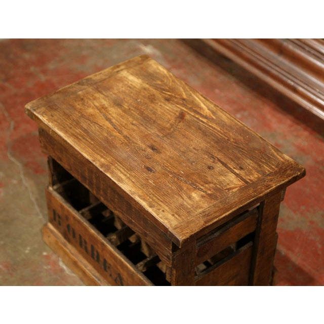 French Old French Pine 12 Wine Bottle Storage Cabinet with Bordeaux Inscription For Sale - Image 3 of 8