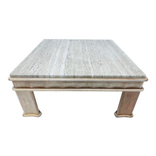 Italian Travertine Coffee Table With Carved Wood Base, 1980s For Sale