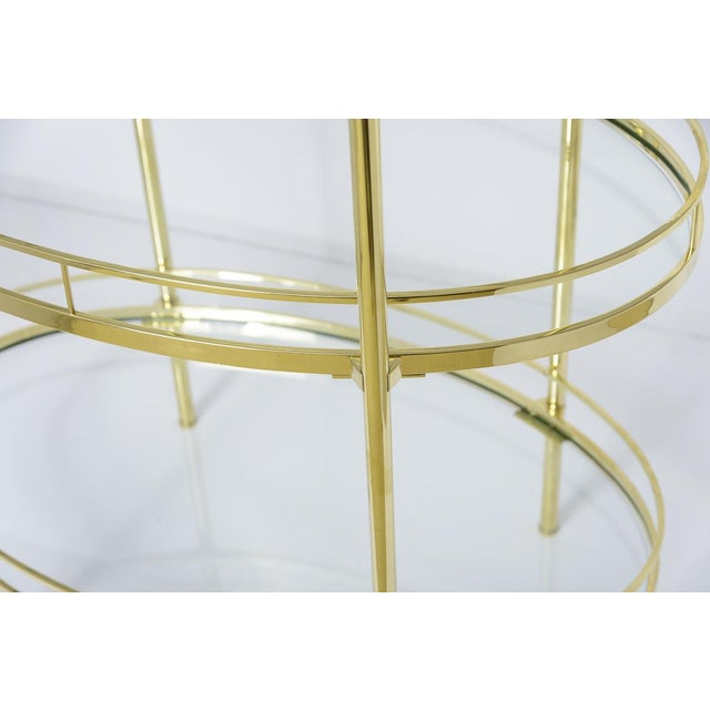 Brass Three Tier Bar/Etagere Midcentury Signed Maxwell-Phillips Oval For Sale - Image 10 of 12