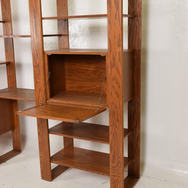 Brown Mid Century Modern Solid Oak Wood Wall Unit by Lou Hodges For Sale - Image 8 of 11