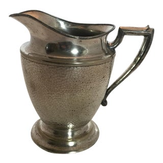 Vintage Art Deco Nickel Hammered Silver Plate Water Pitcher For Sale