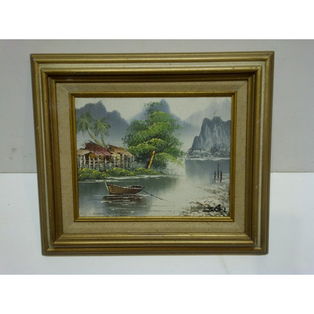 "J. Baker Original Framed ""Village on the Water"" Painting on Canvas - Image 2 of 6"