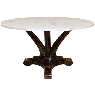 Customizable Delfine Macassar Ebony Table with Rock Crystal Top For Sale