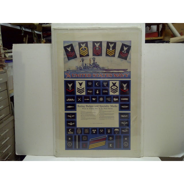 """This is a Vintage -- United States Navy Recruiting Poster -- """"United States Navy - Rating Badges And Specialty Marks"""" --..."""
