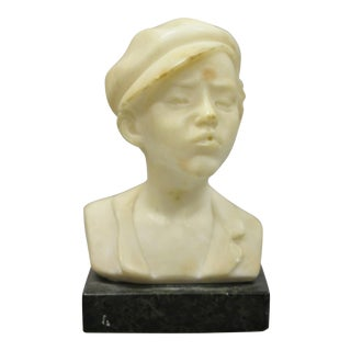 "Small Martin Antique 6"" Carved Marble Alabaster Boy Bust Smoking Cigarette Cigar For Sale"