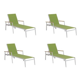 Outdoor Sling Chaise Lounge, Natural and Green (Set of 4) For Sale