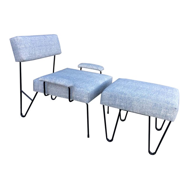 Alex Outdoor Lounge Chair & Ottoman Set , Platium Upholstered Sunbrella with Black Powder Coated Stainless Steel Base For Sale