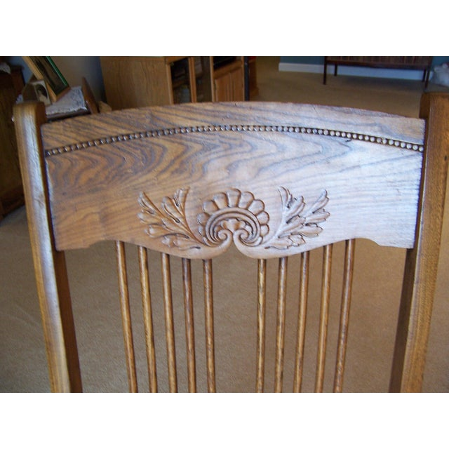 Traditional Antique Triple Pressed Back Rocking Chair For Sale - Image 3 of 3