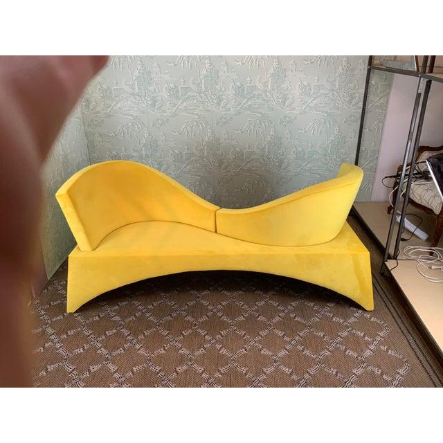 1970s Vintage Mid Century Modern Yellow Velvet Loveseat For Sale In Dallas - Image 6 of 6