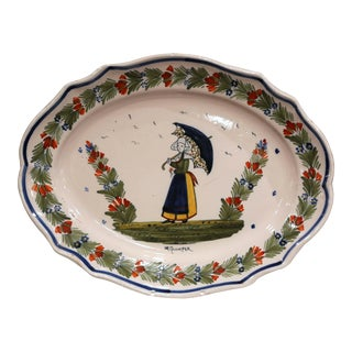 Early 20th Century French Hand-Painted Faience Wall Platter Signed Hr Quimper For Sale