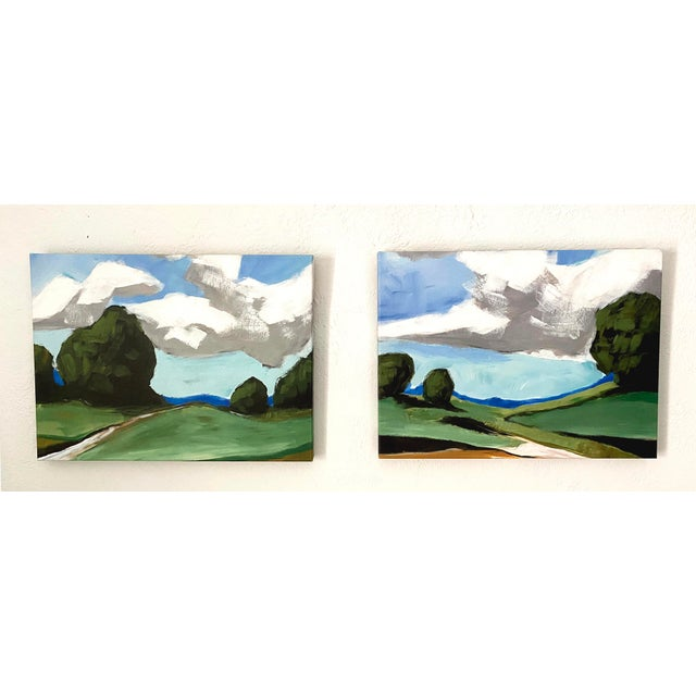 Traditional Contemporary Summer Landscape Prints on Canvas - a Pair For Sale - Image 3 of 11