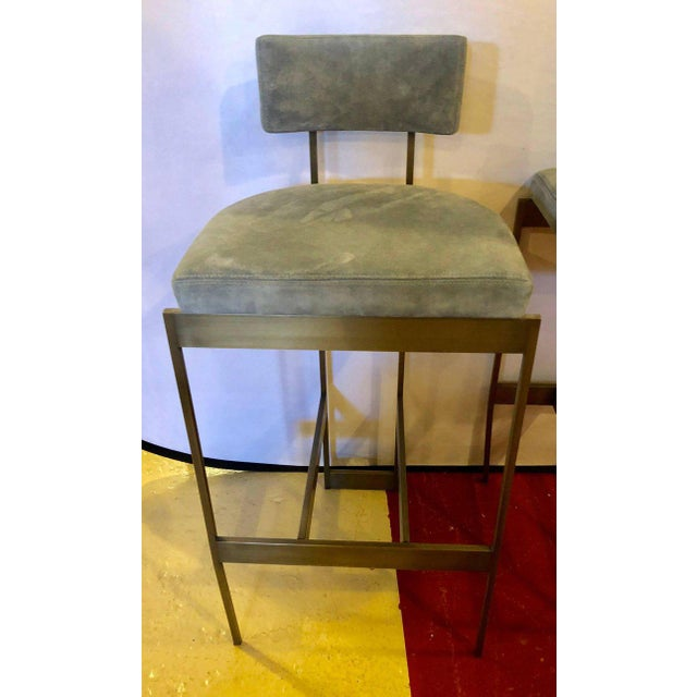 Gray Set of Four Powell and Bonnell 'Alto' Suede Bar Stools For Sale - Image 8 of 14