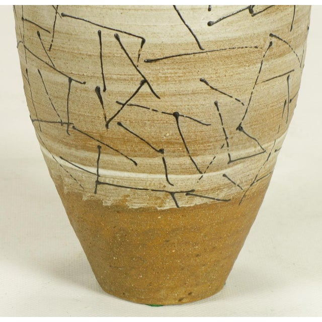 Ceramic Hand Thrown & Glazed Terra Cotta Free Edge Vase For Sale - Image 7 of 8