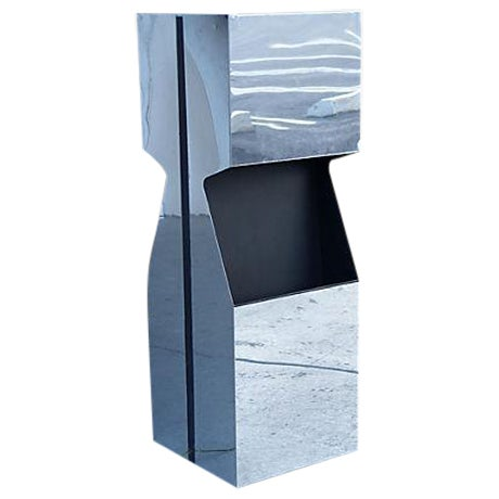 George Kovacs Chrome & Black Angled Lighted Pedestal For Sale