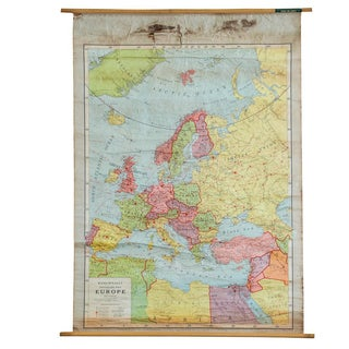 Antique Rand McNally European Pull Down Map For Sale