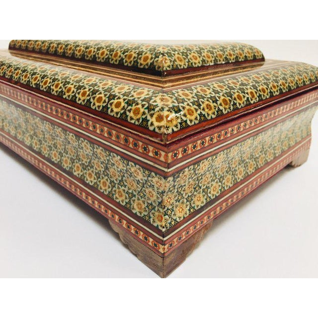 Large Persian Jewelry Mosaic Khatam Inlaid Box For Sale - Image 10 of 13