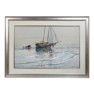 Framed Watercolor by Edmund Darche Lewis For Sale