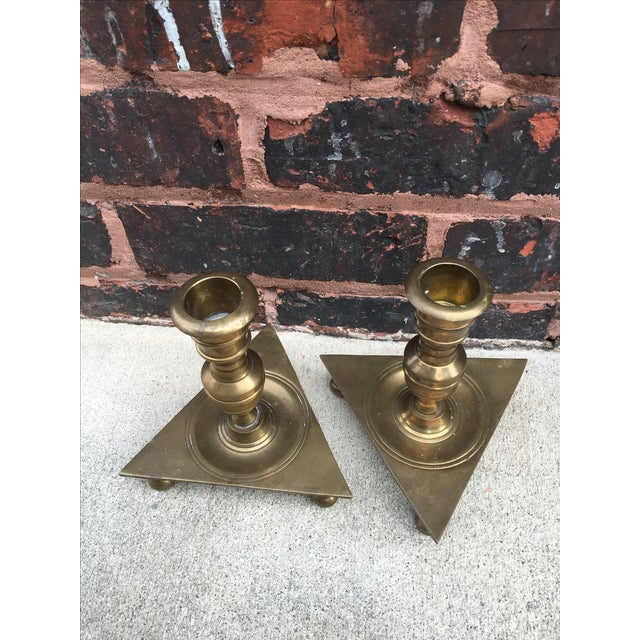 Mid-Century Triangular Brass Candlesticks - A Pair - Image 5 of 5