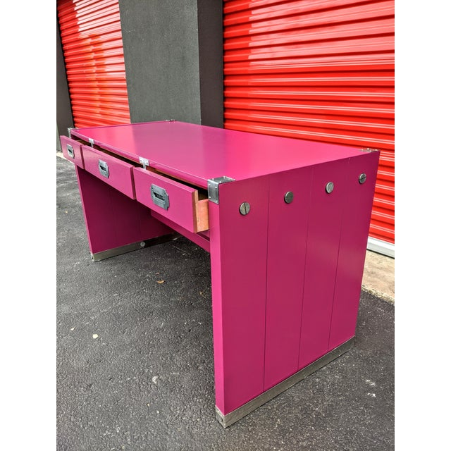 Metal 1980s Glossy Raspberry Bernhardt Campaign Desk For Sale - Image 7 of 10