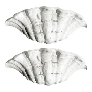 One Pair Shell Form Sconces After Serge Roche For Sale