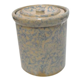 Rare 19thc Spongeware Pottery Cookie Jar