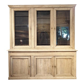 Bleached French Oak Bibliotheque With Black Painted Interior, Circa 1880 For Sale