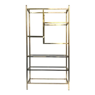 Vintage Brass & Glass Bookcase Etagere For Sale