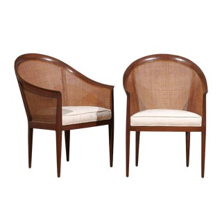 Elegant Restored Pair of Walnut Cane Chairs by Kipp Stewart for Directional For Sale