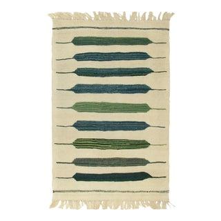 Rug & Relic Green Stripe Turkish Kilim | 1'10 X 3' Flatweave For Sale