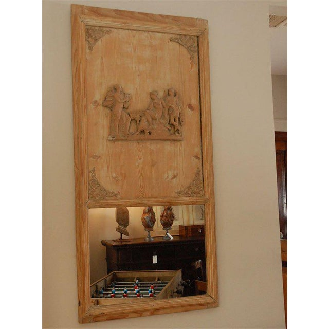French 1820s French Directoire Pine Trumeau Mirror For Sale - Image 3 of 11