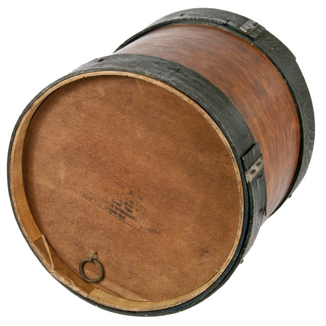 Vintage Wood & Metal Drum-Shaped Storage Box - Image 3 of 4