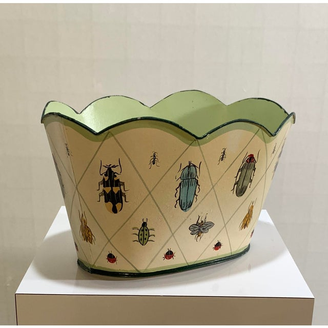 Vintage Tole Painted Insect Motif Scalloped Edge Metal Planter For Sale - Image 10 of 12
