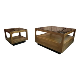 1960s Mid Century Modern Teak Glass Top Coffee and Side Table Designed by John Keal for Brown Saltman For Sale