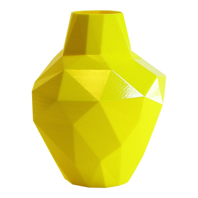 Redux Polygon Accent Vase, Electric Yellow For Sale