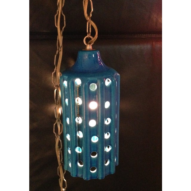 Vintage Pierced Ceramic Pendant Lights - A Pair - Image 3 of 8
