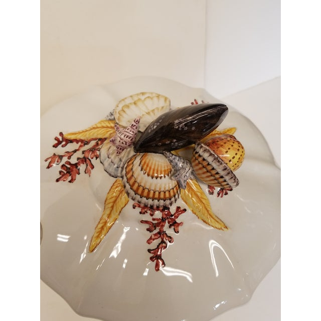 White Majolica Soup Tureen With Sea Shells & Coral, Made in Italy for B.Altman Ny - Image 3 of 6