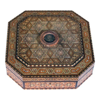 A Finely Crafted and Large Middle Eastern Micro-Mosaic Marquetry Inlaid Octagonal Lidded Box For Sale