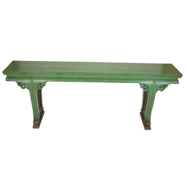 Green Painted Chinese Console Table, Large Scale For Sale - Image 9 of 13