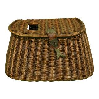 Adirondack Wicker Creel Basket For Sale