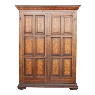 Majestic Spanish Colonial Marquetry Armoire For Sale