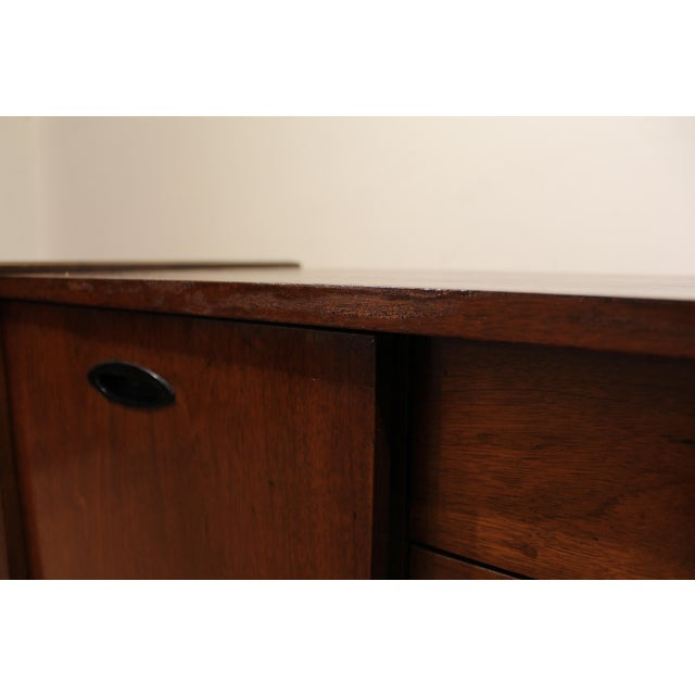 Mid-Century Danish Modern Walnut Sliding Door Floating Base Credenza - Image 10 of 11