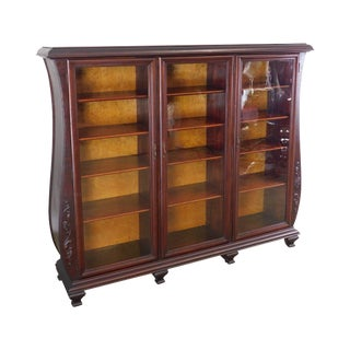 Forest City Furniture Co. Antique Curved Bombe Mahogany Victorian 3 Door Bookcase For Sale