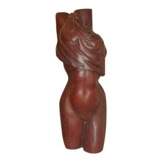 Large Modernist Carved Mahogany Female Torso Figure For Sale