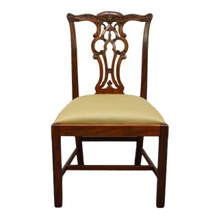 Vintage Maitland Smith Solid Mahogany Traditional Chippendale Style Side Chair For Sale