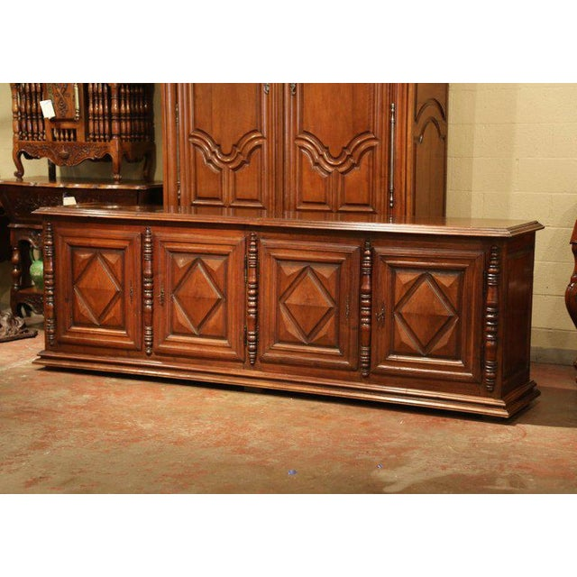 Early 19th Century French Louis XIII Carved Walnut Four-Door Enfilade Buffet For Sale - Image 13 of 13