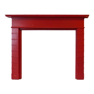 Mid Century Modern Red Painted Wooden Mantel For Sale