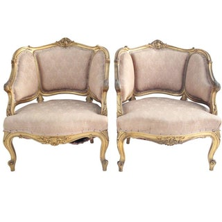 Louis XV Blush Bergère Armchairs - A Pair